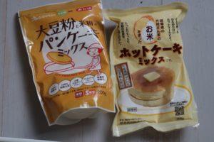 米粉のパンケーキミックスが2種類載っている
