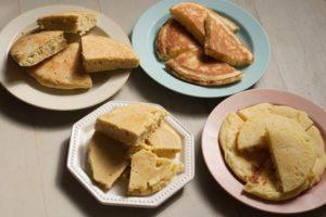 米粉パンケーキが4種類並んでいる