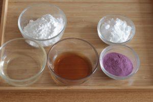 紫芋クッキーの材料
